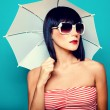 beautiful girl with an umbrella — Stock Photo