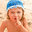 Funny kid on the beach — Stock Photo