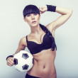 Sports sensual girl with ball — Stock Photo #11695596