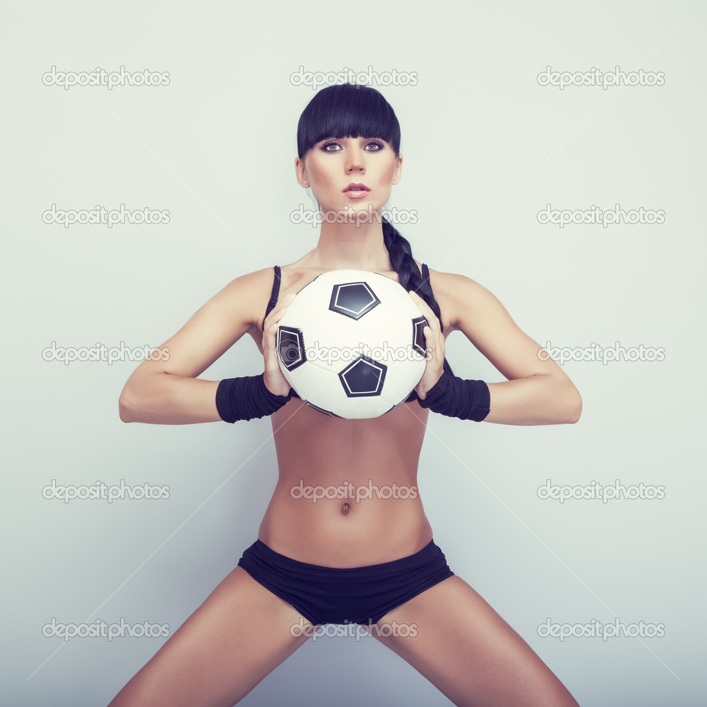 Sexy girl posing with ball — Stock Photo #11695631