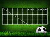 Blank Soccer ( Football ) Table score on grass field — Stok fotoğraf
