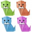 Origami cat Recycled Papercraft — Stock Photo