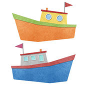 Boat made from recycled paper — Stock Photo