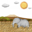 Elephant in Safari field recycled paper background — Stock Photo