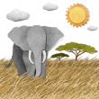 Elephant in Safari field recycled paper background — Foto de Stock