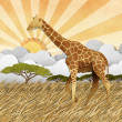 Giraffe  in Safari field recycled paper background — Foto de Stock