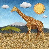Giraffe in Safari field recycled paper background — Stock Photo