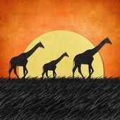 Giraffa in campo safari riciclati di carta — Foto Stock