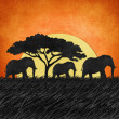 Elephant  recycled paper background - Stock Photo