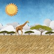 Giraffe  in Safari field recycled paper background - Stock Photo