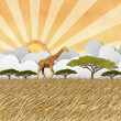 Giraffe in Safari field recycled paper background — Stock Photo