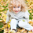 Child playing in autumn park — Stock Photo