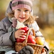 Child with basket of apples — Stock Photo
