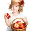 Child with basket of apples — Stock fotografie