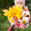 Child hidden behind autumn leaves — Stockfoto
