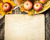Autumn border from apples and leaves — Stock fotografie