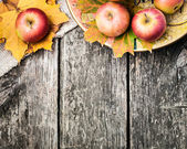Autumn border from apples and yellow leaves — Stok fotoğraf