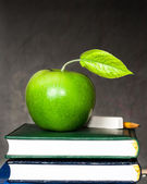 Apple, chalk and pencil on textbooks — Stock Photo