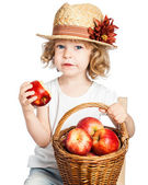 Child with basket of apples — Fotografia Stock