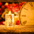 Christmas candle at midnight — Stock Photo