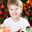 Happy smiling kid in Christmas — Stok fotoğraf