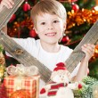 Happy boy playing in Christmas — Stock Photo