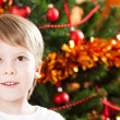 Closeup portrait of boy in Christmas — Stock Photo #11888962