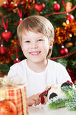 Happy smiling kid in Christmas — Stock Photo