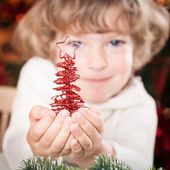 Happy child with Xmas decoration — Stock Photo