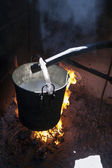 Cooking of fresh milk — Stock Photo