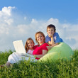 Woman with kids hanging out relaxing — Stock Photo #10791300