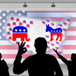 Royalty-Free Stock Photo: American presidential elections - silhouette crowd