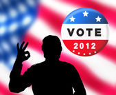 American presidential elections banner with man silhouette — Stock Photo