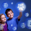 Kids accessing cloud applications — Stock Photo #10948747