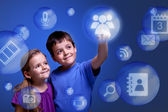 Kids accessing cloud applications — Stock Photo