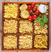 Pasta variety in a compartmented box — Stock Photo