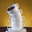 Coffe cups and beans — Stock Photo