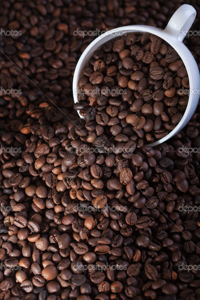 White coffee cup covered in roasted beans — Stock Photo #11535194