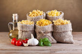 Assortment of pasta with fresh ingredients — Stock Photo