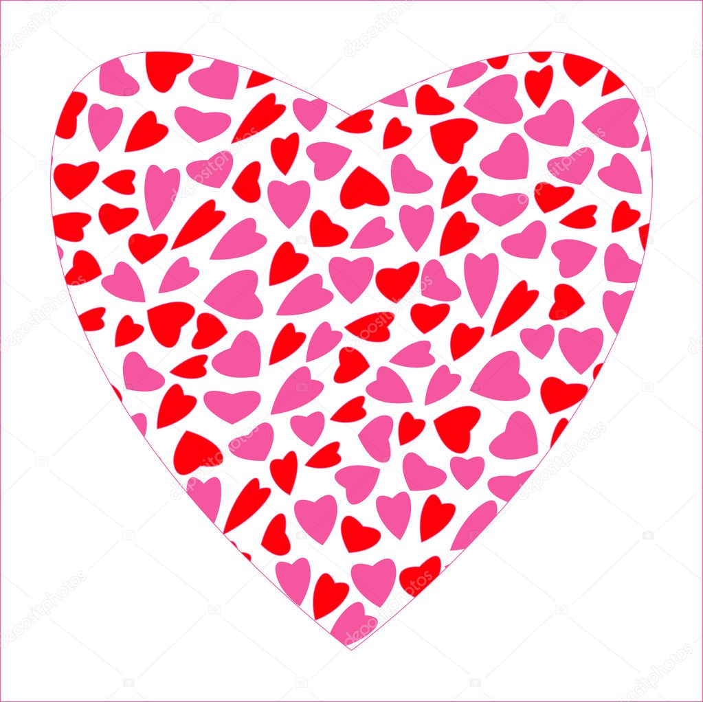 Many Red and Pink Hearts in Big Heart — Stock Vector #11010006