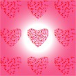 Royalty-Free Stock Vector Image: Nine Heart of Hearts on white-pink background