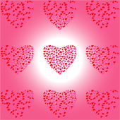 Nine Heart of Hearts on white-pink background — 图库矢量图片