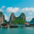 View of Floating Fishing Village in Halong Bay - Stock Photo