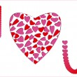 Royalty-Free Stock Vector Image: I Love You message with red-pink hearts