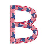Letter B made of USA flags on white background — Stock Vector