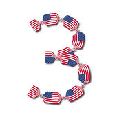 Number 3 made of USA flags in form of candies — Stock Vector