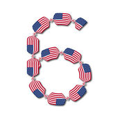 Number 6 made of USA flags in form of candies — Stock Vector