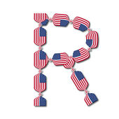 Letter R made of USA flags in form of candies — Stock Vector