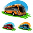 Illustration of different color bus icons - Stock Photo