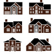 Brick home icons — Stock Photo